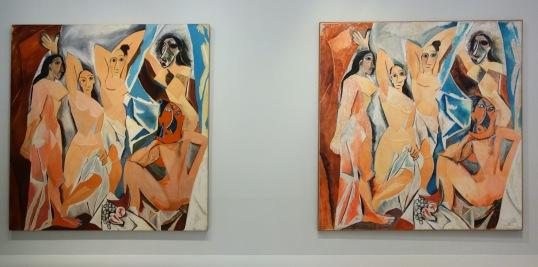 Mike Bidlo - Not Picasso (les demoiselles d'Avignon, 1907) (huile sur toile - 1984) et André Raffray - Les demoiselles d'Avignon, de Picasso (crayons de couleur sur toile - 1988)